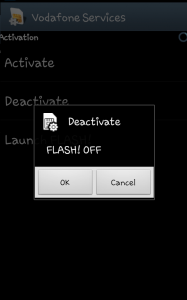 Disable pop up flash message of Vodafone in android