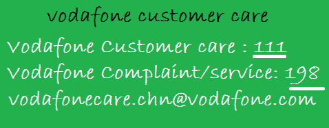 Customer Care number of Vodafone