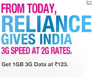 Reliance increase 3G mobile net pack Charges
