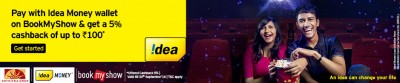 Book my show offer - Idea Wallet 5% cash back